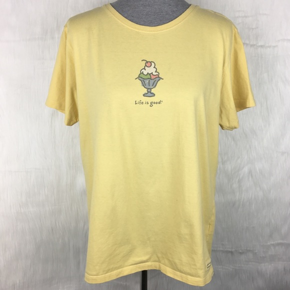 6043652caf0 Life Is Good Tops - Life is Good Yellow Ice Cream T-Shirt